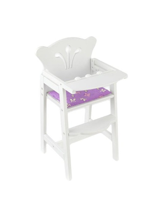 KidKraft - Lil' Doll High Chair - White by Kidkraft - KidKraft's Lil Doll High Chair has a crisp white lacquer finish with scalloped edges, and filigree cut out detail. Plus, with a pink and white rattle bar, foot rest, and a reversible mint/lavender pad, the high chair comfortably seats a 19' doll for breakfast, lunch or dinner. Because kid-safety is a priority, rubber stops between the tray table and chair protect little fingers from getting caught.