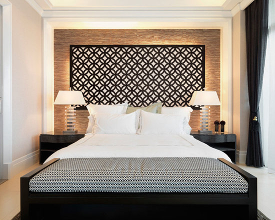 """Redi-Screens Room Dividers - The """"Glastonbury"""" Redi-Screen as a classic headboard and piece of art in this modern bedroom."""