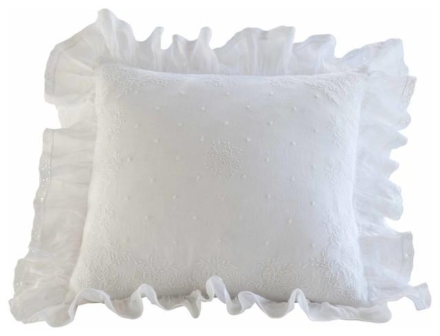 Daisy Dot White Toss Pillow traditional-pillows