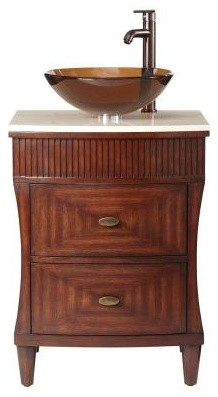 Home Decorators Collection Fuji 24 in. Bathroom Vanity in Old Walnut with Marble contemporary-bathroom-vanities-and-sink-consoles