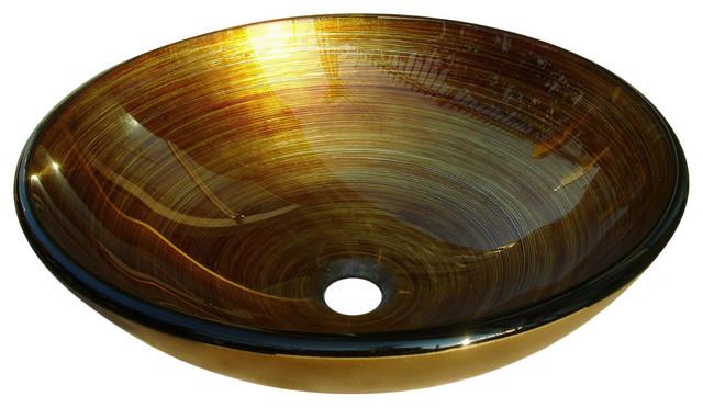 Gold/ Orange Glass Sink Bowl - Contemporary - Bathroom ...