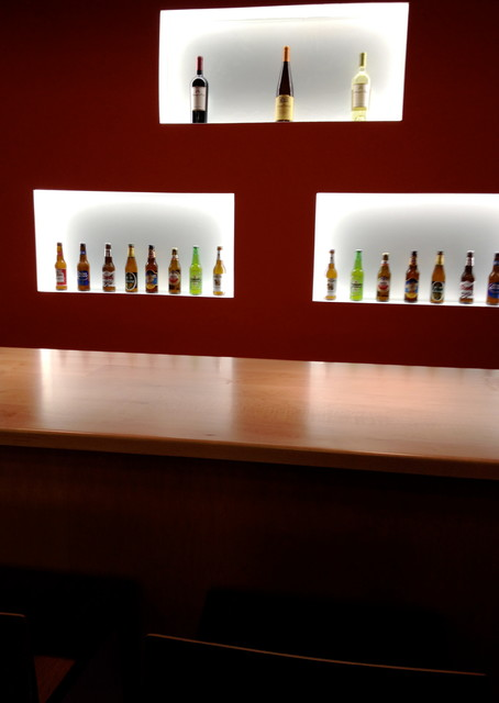 Recessed LED bar lighting display and bar area - Contemporary - Home Bar - other metro - by HAVA ...