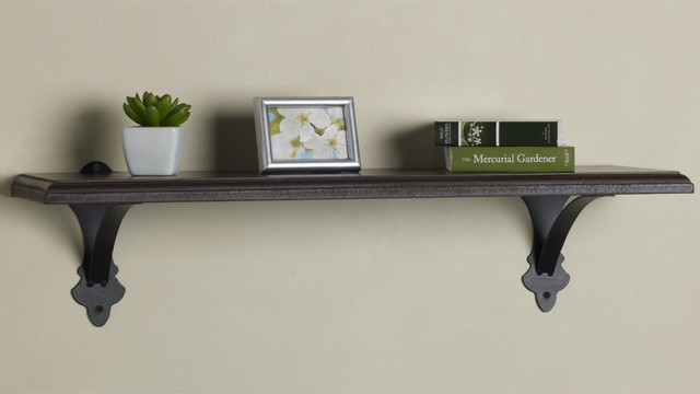 Melannco 24 Inch Brown Metal Wood Shelf Contemporary
