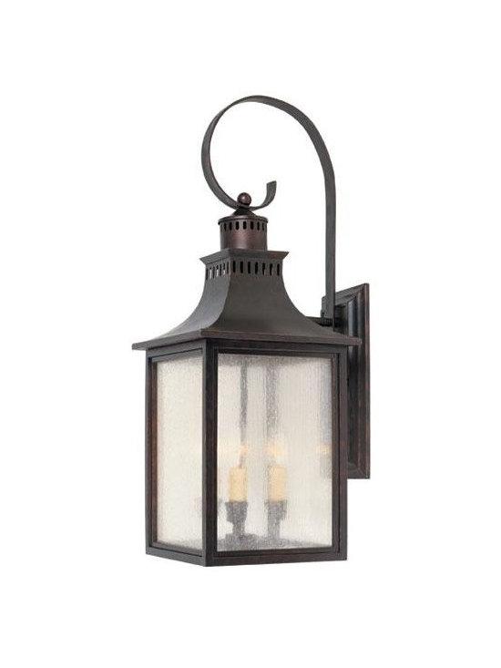 Joshua Marshal - Three Light English Bronze Pale Cream Seeded Glass Wall Lantern - Three Light English Bronze Pale Cream Seeded Glass Wall Lantern
