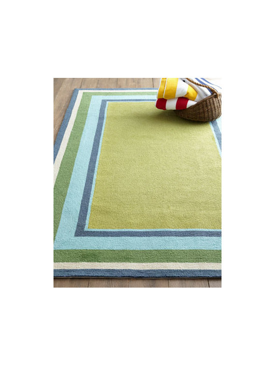 "Horchow - ""Seaside Blocks"" Outdoor Rug - With its concentric blocks of coastal-inspired color, this handmade rug is the perfect piece for adding seaside ambiance to indoor or outdoor spaces. Made of polypropylene/acrylic blend. Outdoor safe. Great for high traffic areas indoors. Sizes are..."