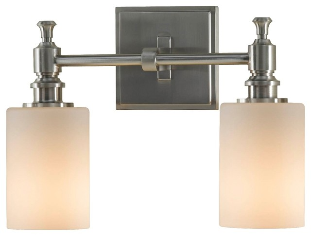 Country cottage feiss sullivan brushed steel 13 wide for Traditional bathroom vanity lights