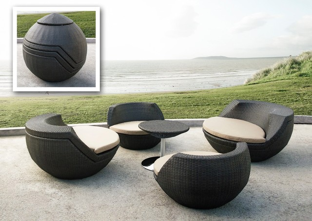 Ovum modern brown 5 piece egg shaped patio set modern for Patio lounge sets