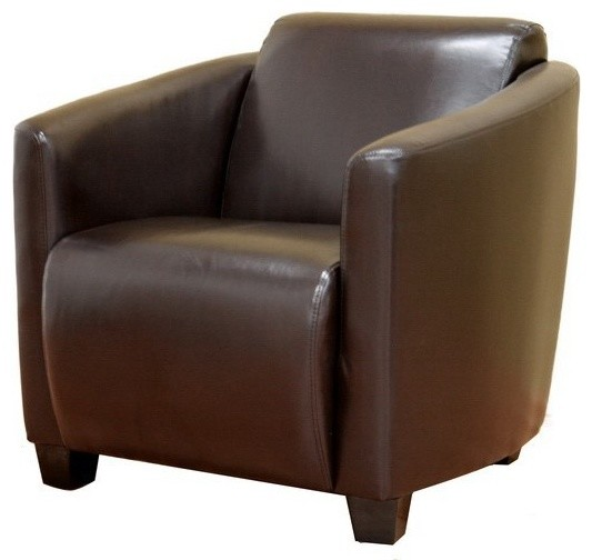Wholesale Interiors Dark Brown Leather Bonded Club Chair contemporary-upholstery-fabric