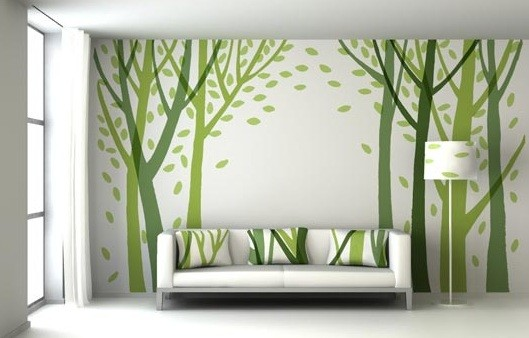 Green Wall Hall Decor | Home Interior Decorating Ideas