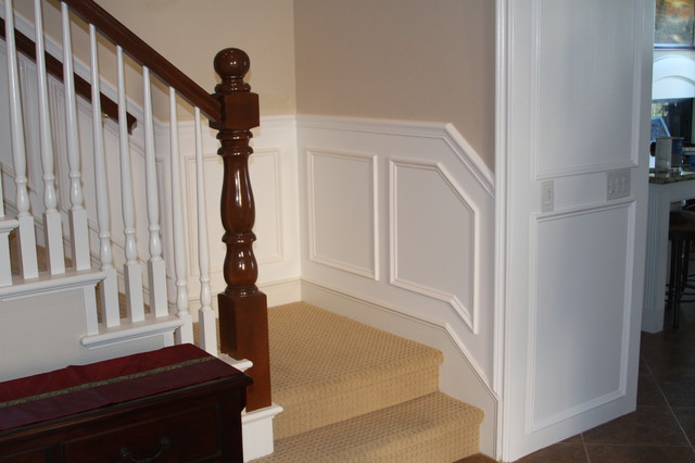 wainscot on stairway contemporary
