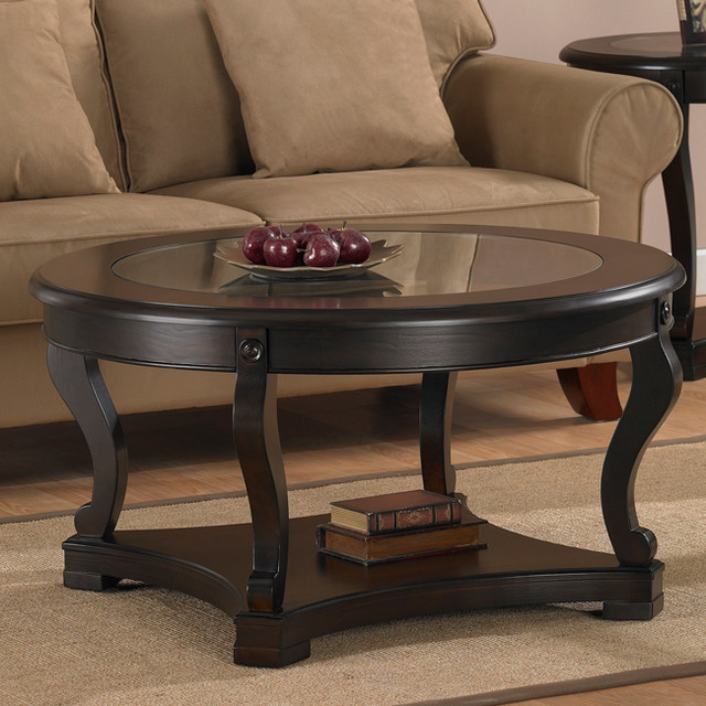 Geurts espresso coffee table contemporary coffee for Coffee tables overstock