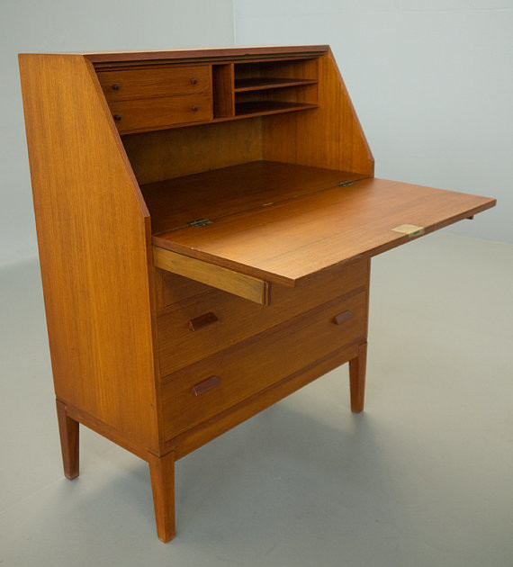 Borge Mogensen Danish Modern Teak Secretary by Vintage Danish Modern - Modern - Desks And ...