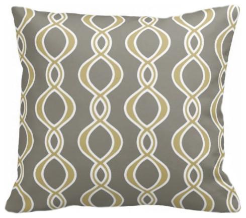 Twist Organic Pillow Cover, Mustard/Khaki/Natural, 18 X 15 contemporary-decorative-pillows
