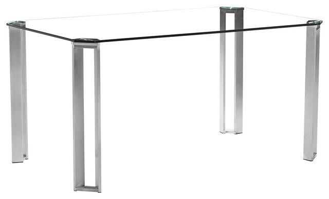 Zuo Plume Clear Glass Modern Dining Table contemporary-dining-tables