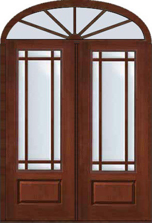 Prehung french transom double door 96 marginal 9 lite for Craftsman french doors