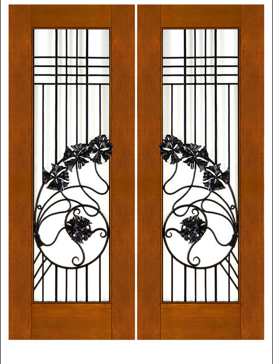 """AAW Inc. - Contemporary Entry Door Model NW-1637 - Model NW-1637 from our New World Collection. Door is solid Mahogany, 2-1/4"""" thick with decorative iron work on the outside.  Available in Clear or Matte Low-E Glass."""