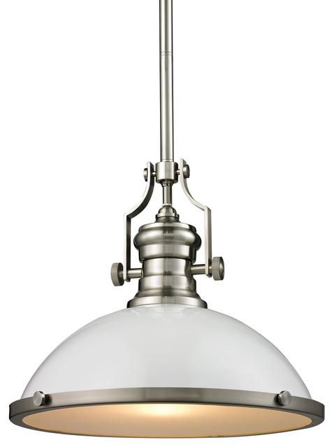 chadwick 1 light large pendant in gloss white satin nickel