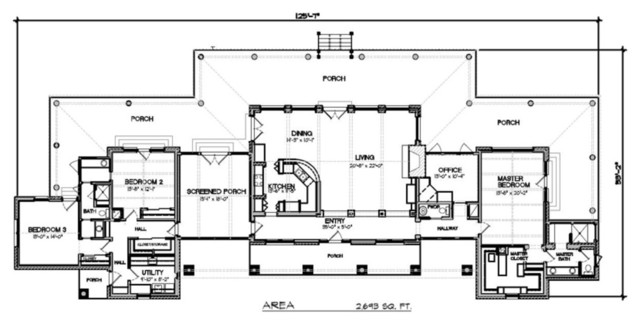 Plan 140 149 modern ranch modern floor plan san for Modern raised ranch house plans