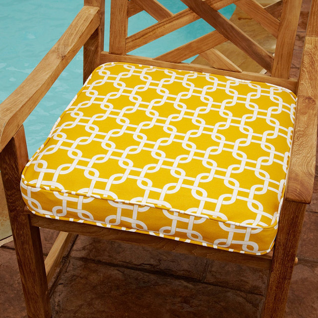 penelope yellow 20 inch square outdoor chair cushion contemporary outdoor cushions and. Black Bedroom Furniture Sets. Home Design Ideas