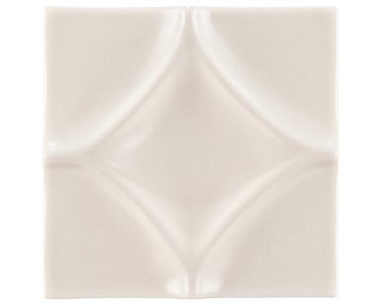 "Ceramic - ANN SACKS Circa 4"" x 4"" harlequin ceramic decorative tile in warm candle white gloss"