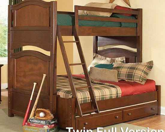 Aris Brown Cherry Twin Full Bunk Bed with Trundle - Create a warm space for your children with this bunk bed. The Bunk Bed for Three Kids, Furniture for Twins and Triplets