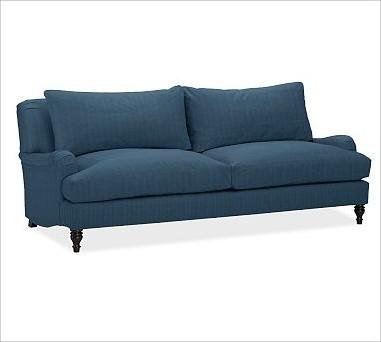 Carlisle upholstered grand sofa down blend wrap cushions for Sectional sofa down cushions