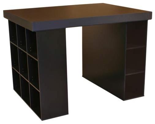 Black Project Center With One Bookcase And Three Bin Cabinet Venture Horizon Des contemporary-desks