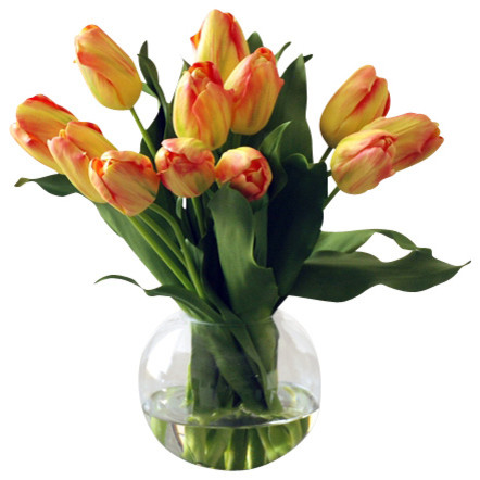 Tulip Bubble Bowl, Yellow Orange traditional-artificial-flowers