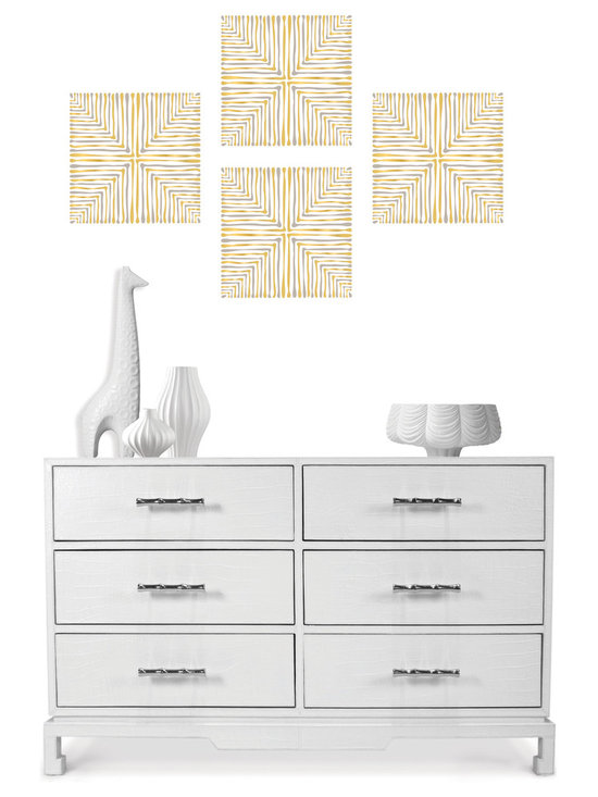 Santorini Blox - WallPops by Jonathan Adler designer wall decals. Santorini has a shimmering mylar detail and a chic silver and gold palette.