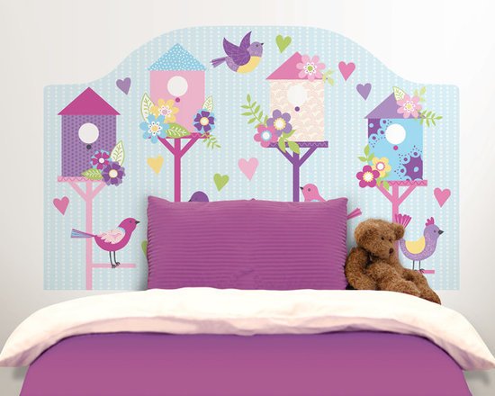 Headboards - This happy and sweet bird themed headboard decal will bring the finishing touch to your child's room.