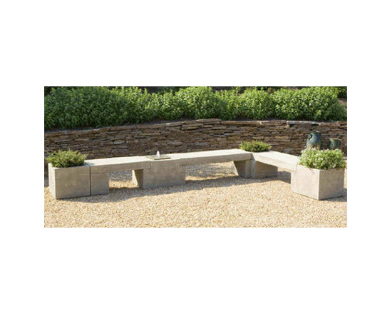Modular Planter/Bench/Fountain System - This is a first. I've never seen a bench with a fountain coming out of it. A very cool, contemporary seating arrangement with added interest.