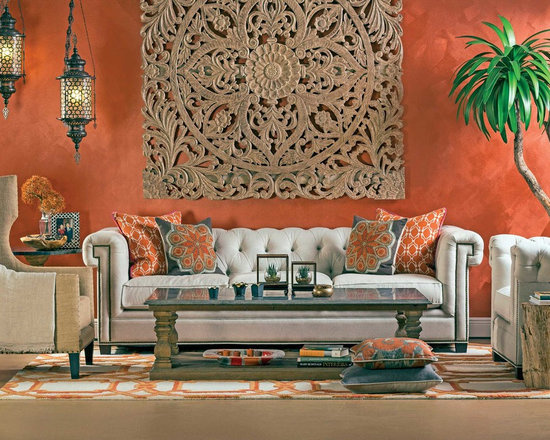 High Fashion Home - Bali Wood - This eclectic setting brings a worldly decor with classic shapes.