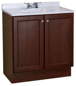 All In One 30 In W Bathroom Vanity Combo In Chestnut With Cultured Marble Ba