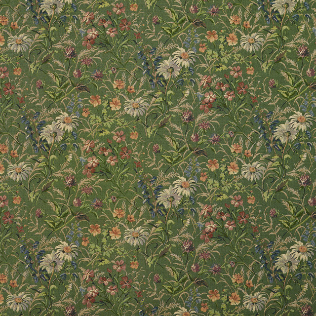 Green Burgundy And Blue Garden Floral Tapestry Upholstery
