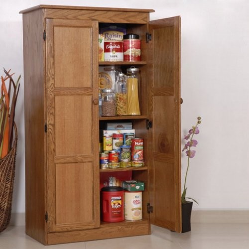 Multi purpose storage cabinet pantry oak contemporary for Kitchen cabinets storage