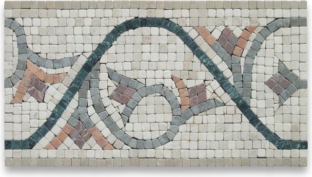 Carina 7.5x13.5 Marble Mosaic Border Listello Tile Tumbled floor-tiles