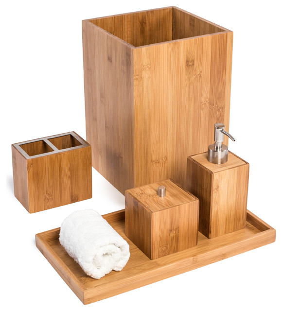 bamboo bathroom vanity set 5 pieces contemporary