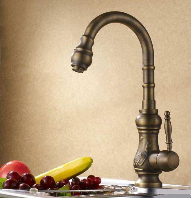 Carved Antique Kitchen Faucet Bronze Modern Kitchen