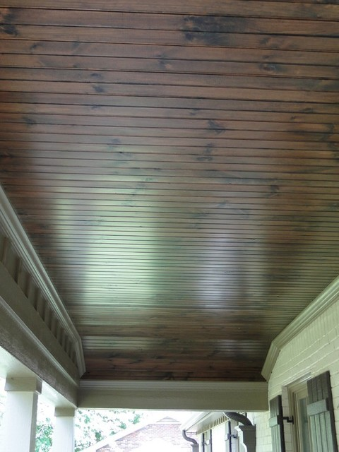 Stained bead board for porch ceilings.