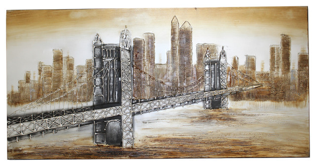 'The Bridge' New York Hand-painted Canvas Wall Art Decor contemporary-artwork