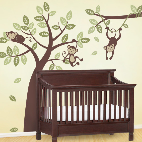 Three Monkey Tree and Branch Vine Wall Decal contemporary