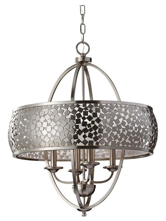 Joshua Marshal - Four Light Brushed Steel Silver Organza Fabric Shade Up Chandelier - Finish: Brushed Steel