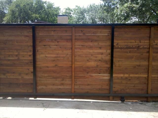 Backside Horizontal Cedar Automatic Sliding Gate - dallas - by Texas Best Fence
