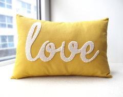 Yellow Love PIllow by Honey Pie Design modern-decorative-pillows