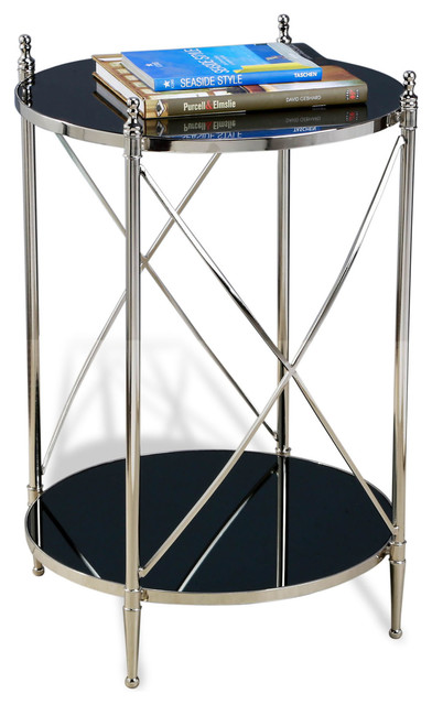Heythrop Hollywood Regency Steel and Glass Round Side Table contemporary-side-tables-and-accent-tables