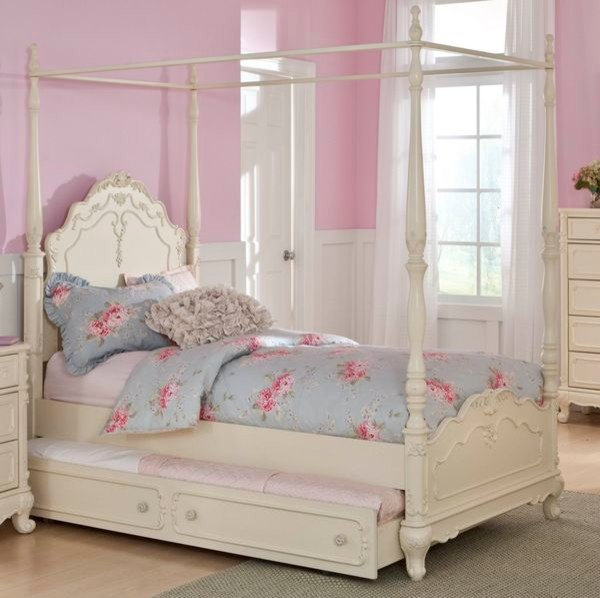 Cinderella Victorian White Twin Canopy Poster Bed