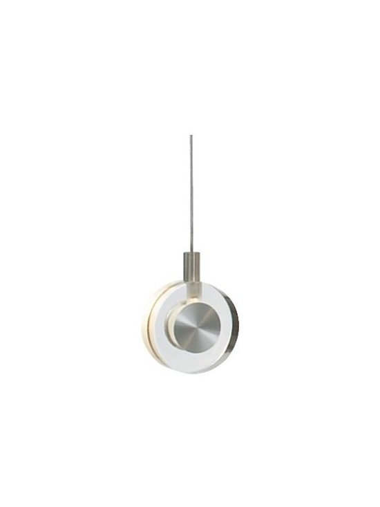 LBL Lighting - Bling Pendant by LBL Lighting - The LBL Lighting Bling Pendant is a crystal clear example of contemporary simplicity. It features a round of transparent crystal softened by a sandblasted interior and decorative metal accents finished in soft Satin Nickel. For mounting options, see below. Also available grouped in the Bling Linear Suspension. For more than 40 years, Illinois-based LBL Lighting has created innovative lighting fixtures based on the principles of beauty, originality and quality. Such values remain evident in their current line of fixtures, which feature distinctive elements like organic art glass, solid construction and the latest low voltage and LED lighting technology.