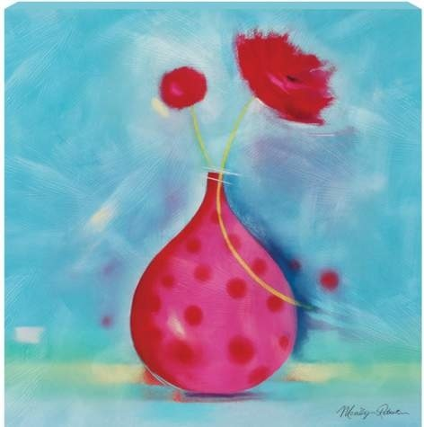 """15 x 15"""" Red Flowers Wall Art Painting with Polka Dots Vase Decoration eclectic-artwork"""