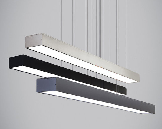Knox Linear Suspension by Tech Lighting - Knox Linear Suspension features strong lines and industrial simplicity. This LED suspension fixture performs as it must with such a simple yet handsome design and lets the light itself take center stage. Equally at home over a kitchen island or dining room table as it is in a professional setting over a conference table, lighting a desk space or welcoming guests. Available in gunmetal, black, or satin nickel finish. At 40 watts of field-replaceable LED strips (included), it will provide incredible illumination in virtually any environment (3500 lumens, 3000K). Dimmable with low-voltage electronic dimmer. 45.24L x 3.6W x 2.17H.