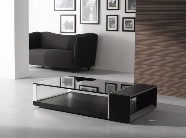 MODERN WENGE VENEERED COFFEE TABLE WITH BLACK GLASS TOP